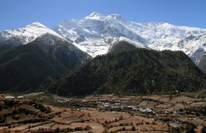 Lower Pisang with the Annapurna Himal in the background.
