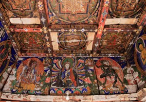 The painted ceiling inside the chorten.