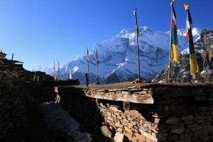 Rooftops and flags in Ghyaru.