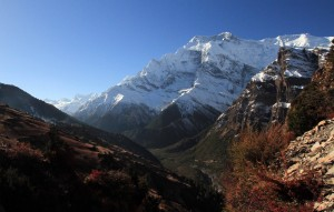 Looking back at Ghyaru (hillside on the left).