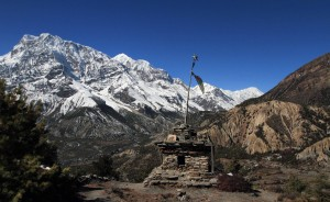A small stupa with Annapurna III (the tall peak) in the background.