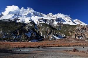 The Annapurna Himal seen from the Marsyangdi Nadi valley floor.