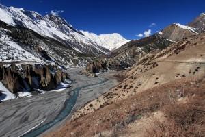 The Khangsar Khola and the Thorung Khola (left and right streams) feeding the Marsyangdi Nadi.
