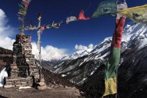 Prayer flags up near Old Khangsar.