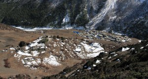"""Looking down at the lower part of Old Khangsar, with """"New"""" Khangsar even lower."""