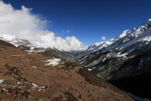 The terraced hillside near Khangsar.