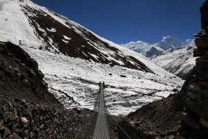 Suspension bridge leading to Churi Ledar.