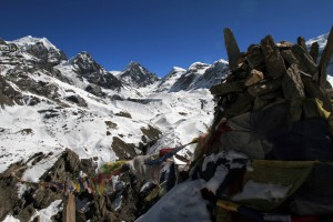 Prayer flags up at the viewpoint.