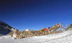 The top of Thorung La Pass, with many prayer flags.
