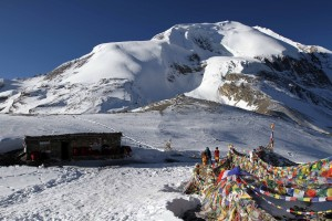The tea house on top of Thorung La Pass.