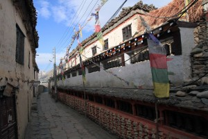 Prayer wheel wall in Kagbeni.