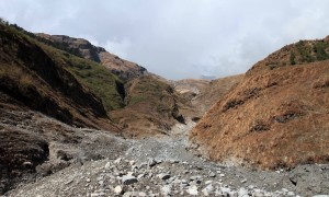 Standing on the landslide, looking toward its source.