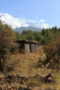 Stone hut in the abandoned village of Sekung.