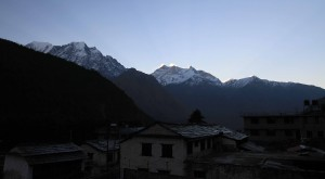 Kalopani in the morning with Annapurna I (8,091 meters) in view.