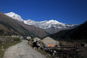 Looking back at Kalopani with Dhaulagiri peak (8,167 meters) in the background.