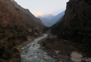 The Kali Gandaki Nadi with the morning sun's rays hitting the distant mountains.