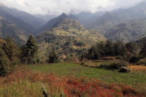 The hills near Phalate and Chitre, with the town of Swanta on the otherside of the valley..