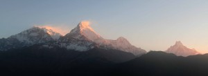 Annapurna I, Annapurna South, Hiunchuli, and Machhapuchhre (from left to right, the four obvious peaks).