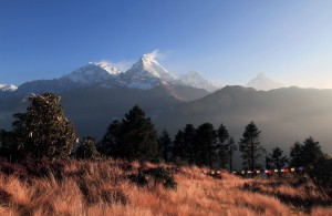 Another view of Annapurna I and Annapurna South, plus accompanying mountain peaks.