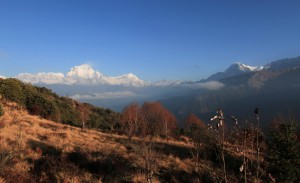 View of the mountains, returning from the top of Poon Hill.