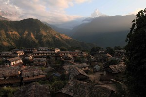Looking out at Old Ghandruk in the morning light again.