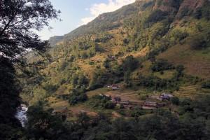 Terraced fields on the west side of the Modi Khola.