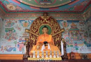 Buddha statue inside the Manang Sewa Samaj Stupa.