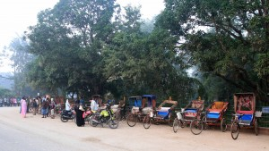 Rickshaws waiting for suckers outside the park entrance in Lumbini.