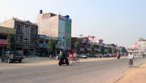 Street in a city somewhere near Lumbini - possibly Butwal.