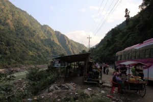 Road-side stop next to the Trishuli River.