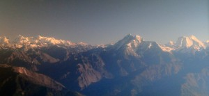 Gauri Shankar and Melungtse peaks on the right-hand side (from left to right).