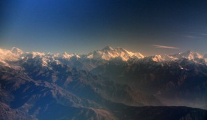 Mount Everest (8,848 meters) - it's the tall pyramid-looking one near the center of the photograph.