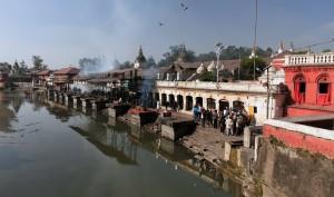 Cremations along the Bagmati River.