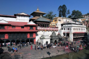 Another view of Pashupatinath Temple - the actual temple is the golden-roofed pagoda in the center.