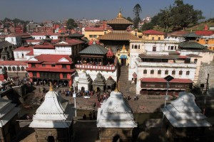 View of Pashupatinath Temple across the river (entrance is for Hindus only).