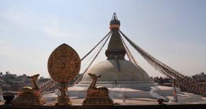 Bouddhanath Stupa seen from the rooftop of Guru Lhakhang Monastery.