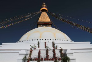 Steps leading up to the topmost level of the stupa.