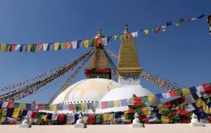 A miniature stupa in front of Bouddhanath Stupa.