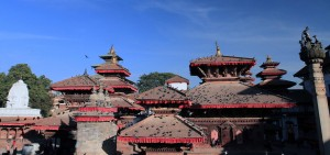 The temple roofs in Kathmandu Durbar Square.
