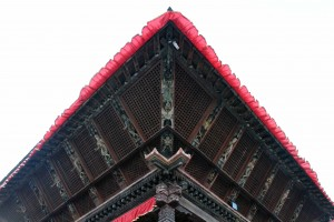 Well carved wood struts adorning the ceiling of one of the temples.