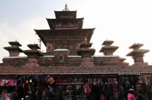 Taleju Temple towering above merchandise stalls.