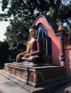 Buddha statue along the steps leading up to Swayambhunath.