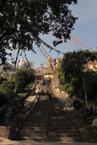 The steps up to Swayambhunath.