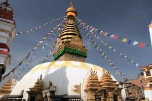 The Swayambhunath stupa with its Buddha eyes.