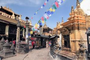 Walking clockwise around the Swayambhunath stupa.