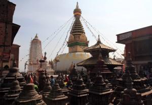 The Swayambhunath stupa and manys maller stupas.