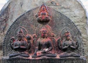 Buddhist relief sculpture in Swayambhunath.