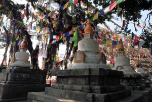 Small stupas at the back side of the Swayambhunath complex.