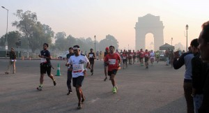 The 7th Airtel Delhi Half Marathon with the India Gate in the distance.