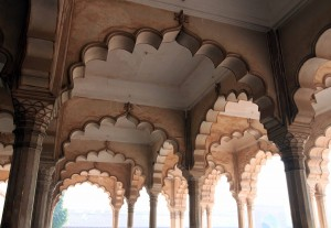 Beautiful arches inside the Diwan-i-Am in Agra Fort.